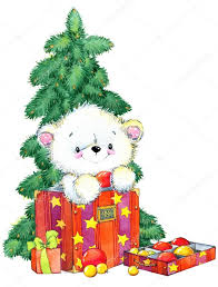 new year white bear christmas card series watercolor illustration