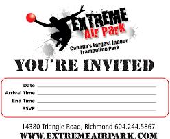 trampoline invitations eap invitation card 2 extreme air park