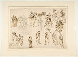 file figure studies standing and kneeling clerics and religious