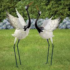bits and pieces crowned cranes metal garden