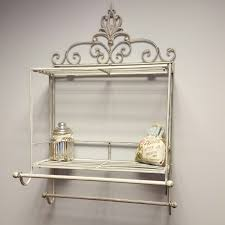 metal bathroom wall shelves shabby chic metal wall shelf towel rail rack storage cabinet