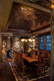 rustic dining room with tin ceiling tiles tin ceiling tiles are
