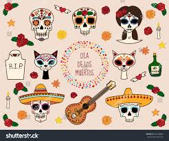 Dia De Los Muertos Halloween Decorations Colorful Set Characters Dia De Los Stock Vector 321946886