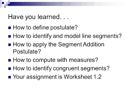 Segment Addition Postulate Worksheet Geometry Notes Section Ppt