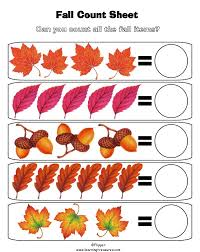 math counting worksheet fall leaves worksheets preschool print this preschool math