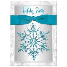 holiday party invitation turquoise gray white simulated
