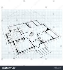 image drawing house plan small square stock vector 75349132