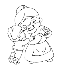 boy kiss grandmother coloring pages color luna