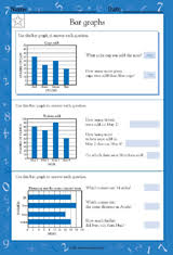 reading bar graphs math practice worksheet grade 4 teachervision