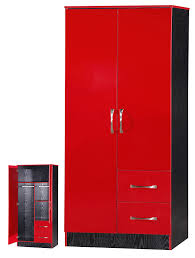 Wardrobes Furniture Marina 2 Door Double Combination Wardrobe Ultra High Gloss Quality