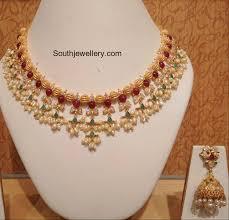 light weight gold necklace designs light weight guttapusalu necklace set jewellery designs