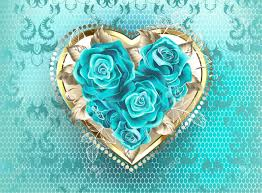 turquoise roses jeweled heart of white gold decorated with turquoise roses on