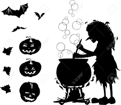 halloween silhouette vector halloween black one colour cartoon set with silhouette of old
