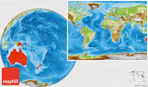 australia world map location physical location map of australia and oceania within the entire