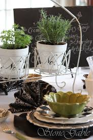 black and white and okay green too tablescape stonegable