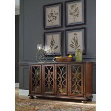 traditional dining room server with glass wood grille doors by