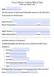 free texas motor vehicle bill of sale form pdf word doc