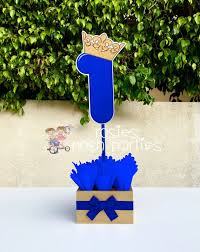 royal prince centerpiece blue and gold birthday party wood