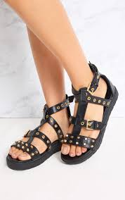 clarice black studded gladiator sandals shoes prettylittlething aus
