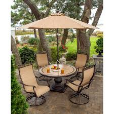 7 Piece Aluminum Patio Dining Set - monaco 5 piece swivel rocker dining set with 9 ft table umbrella