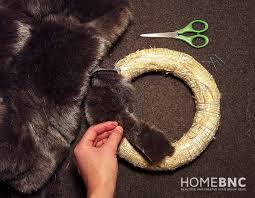 fur christmas diy faux fur christmas wreath homebnc