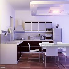 modern kitchen interior with dining room render stock photo