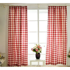 quality cotton classic red and white bedroom plaid curtains