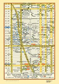 Times Square Map New York 1940s Map Poster Vintage Midtown Times Square Stores