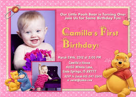 1 birthday invitation winnie the pooh first birthday invitation pink 1 or 2 photo