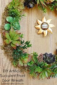 diy artificial succulent front door wreath