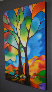 two trees original textured abstract tree painting made to order