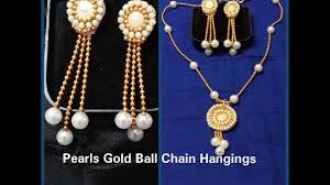 necklace earrings chain images Diy how to make pearls gold ball chain hangings earrings at home jpg