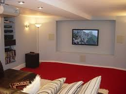 basement ceiling options with red carpet home basement