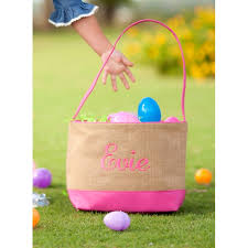 easter buckets pink burlap easter monogrammed easter buckets