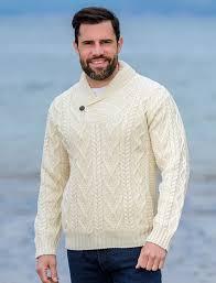 fisherman sweater mens shawl collar sweater shawl neck aran sweater market
