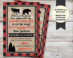 themed invitations lumberjack baby shower invitation buffalo plaid