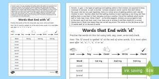 year 2 spelling practice u0027el u0027 endings homework activity sheet
