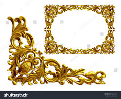 golden frame baroque ornaments gold mirror stock illustration