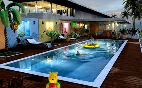 interior astonishing modern house swimming pool night stock