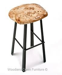 modern bar stool with live edge slab natural wood organic