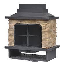 shop garden treasures brown steel outdoor wood burning fireplace