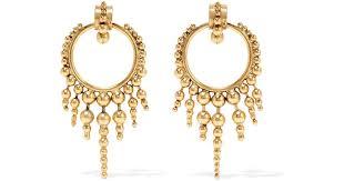 gold plated earrings lyst elizabeth cole fabian gold plated earrings in metallic
