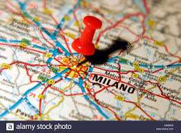 Italy On Map Map Pin Pointing To Milan Italy On A Road Map Stock Photo Royalty