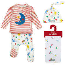 gender neutral gifts organic cotton rainbow retro space theme four piece unisex baby