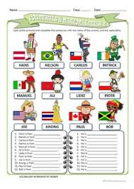 english worksheet english speaking countries iqra history