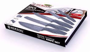 herzog hr m5mc knives kitchen knife set marble coating 5pcs