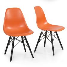 set of 2 orange modern eames style dsw dining side home chair