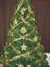 red and gold christmas tree with ribbons down side ribbons are an