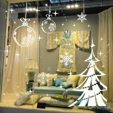 haunted mansion home decor white snowflake merry christmas tree vinyl wall sticker glass