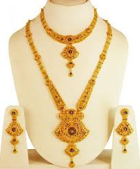gold necklace earring sets images 22kt gold bridal necklace set ajns61681 22kt gold necklace and jpg